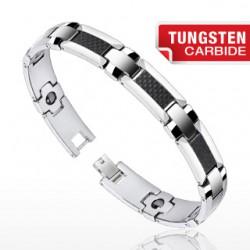 Bracelet en tungstène 06 - Fibre de carbone noir et argenté