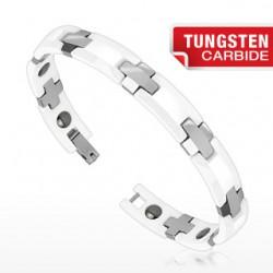 Bracelet en tungstène 07 - Céramique blanche et argenté
