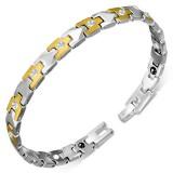 Bracelet en tungstène 14 - Argenté et gold-ip avec zircone