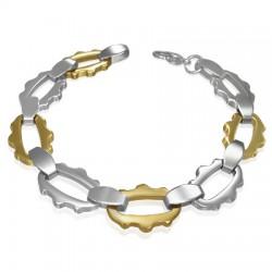 Bracelet en acier 03 - Ovales jaunes et argentés