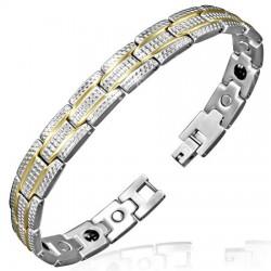 Bracelet en acier 04 - Deux lignes jaunes