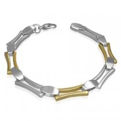 Bracelet en acier 07 - Rectancles jaunes et argentés