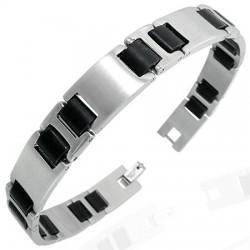 Bracelet en acier 08 - Argenté et noir