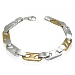 Bracelet en acier 09 - Jaune et argenté