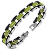 Bracelet en acier 11 - Noir et pistache
