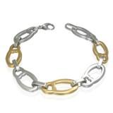 Bracelet en acier 14 - Ovales A jaunes et argentés