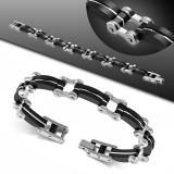 Bracelet en acier 16 - Noir et fine bande grise