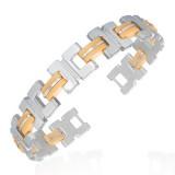 Bracelet en acier 21 - Deux lignes de caoutchouc orange clair