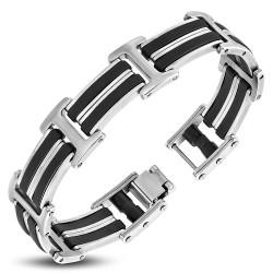 Bracelet en acier 22 - Deux lignes noires