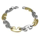 Bracelet en acier 23 - Agrafes jaunes et grises