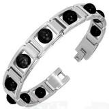 Bracelet en acier 28 - Perles rondes noires