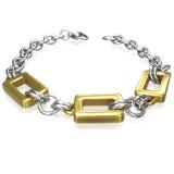 Bracelet en acier 30 - Trois rectangles jaunes