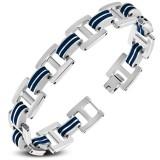 Bracelet en acier 32 - Deux lignes en caoutchouc bleu