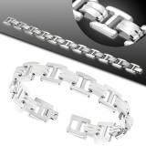 Bracelet en acier 36 - Deux lignes en caoutchouc blanc