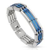 Bracelet en acier 49 - Deux lignes PVD bleues