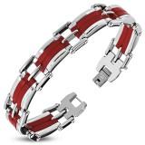 Bracelet en acier 47 - LIgnes centrales rouges