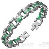 Bracelet en acier 46 - Mi-vert mi-acier