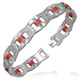 Bracelet en acier 42 - Croisé avec caoutchouc rouge