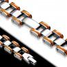 Bracelet en acier 40 - Deux lignes du bord en caoutchouc orange