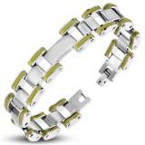 Bracelet en acier 38 - Deux lignes du bord en caoutchouc jaune