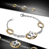 Bracelet en acier 53 - étoile dans cercle rose