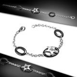 Bracelet en acier 57 - étoile dans cercle noir