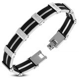Bracelet en acier 60 - Caoutchouc noir avec lignes Grecques