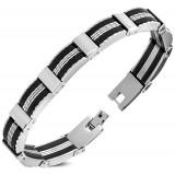 Bracelet en acier 61 - Deux lignes noires