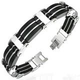 Bracelet en acier 66 - Trois lignes caoutchouc noir