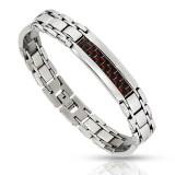 Bracelet en acier 68 - Fibre de carbone rougeatre