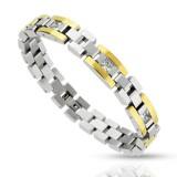Bracelet en acier 73 - Gold IP et zircones