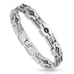 Bracelet en acier 78 - Boules en hématites
