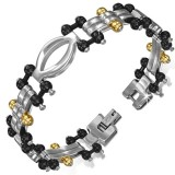 Bracelet en acier 79 - Gold-IP et Black-line