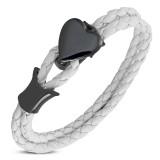 Bracelet prestige 03 - Vinyle blanc et coeur noir
