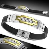 Bracelet prestige 10 - Caoutchouc et acier gold-IP zircones