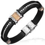 Bracelet prestige 21 - Caoutchouc et acier symboles Grecs