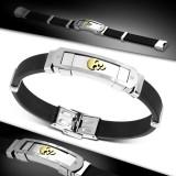 Bracelet prestige 25 - Caoutchouc et acier tête de mort
