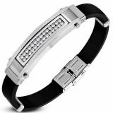 Bracelet prestige 33 - Caoutchouc et acier zircones