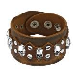 Bracelet gothique 16 - Marron avec cranes