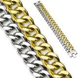 Bracelet acier chaine 09 - Double gold-IP et acier