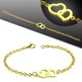 Bracelet acier chaine 36 - Gold-ip deux coeur