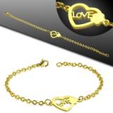 Bracelet acier chaine 34 - Gold-ip coeur love