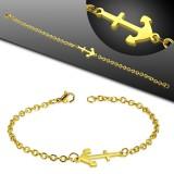 Bracelet acier chaine 32 - Gold-ip avec avec ancre