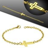 Bracelet acier chaine 31 - Gold-ip avec croix creuse