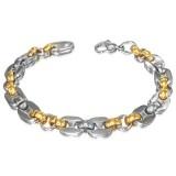 Bracelet acier chaine 30 - Acier et gold-ip deux ovales