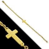 Bracelet acier chaine 26 - Gold-ip avec croix