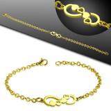 Bracelet acier chaine 25 - Gold-ip infini avec coeurs