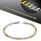 Bracelet acier chaine 23 - Alternance gold-ip et acier