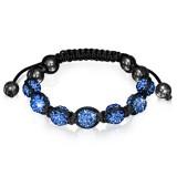 Bracelet shamballa 09 - Férido 7 perles bleu-clairs
