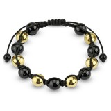 Bracelet shamballa 24 - Perles noires et jaunes